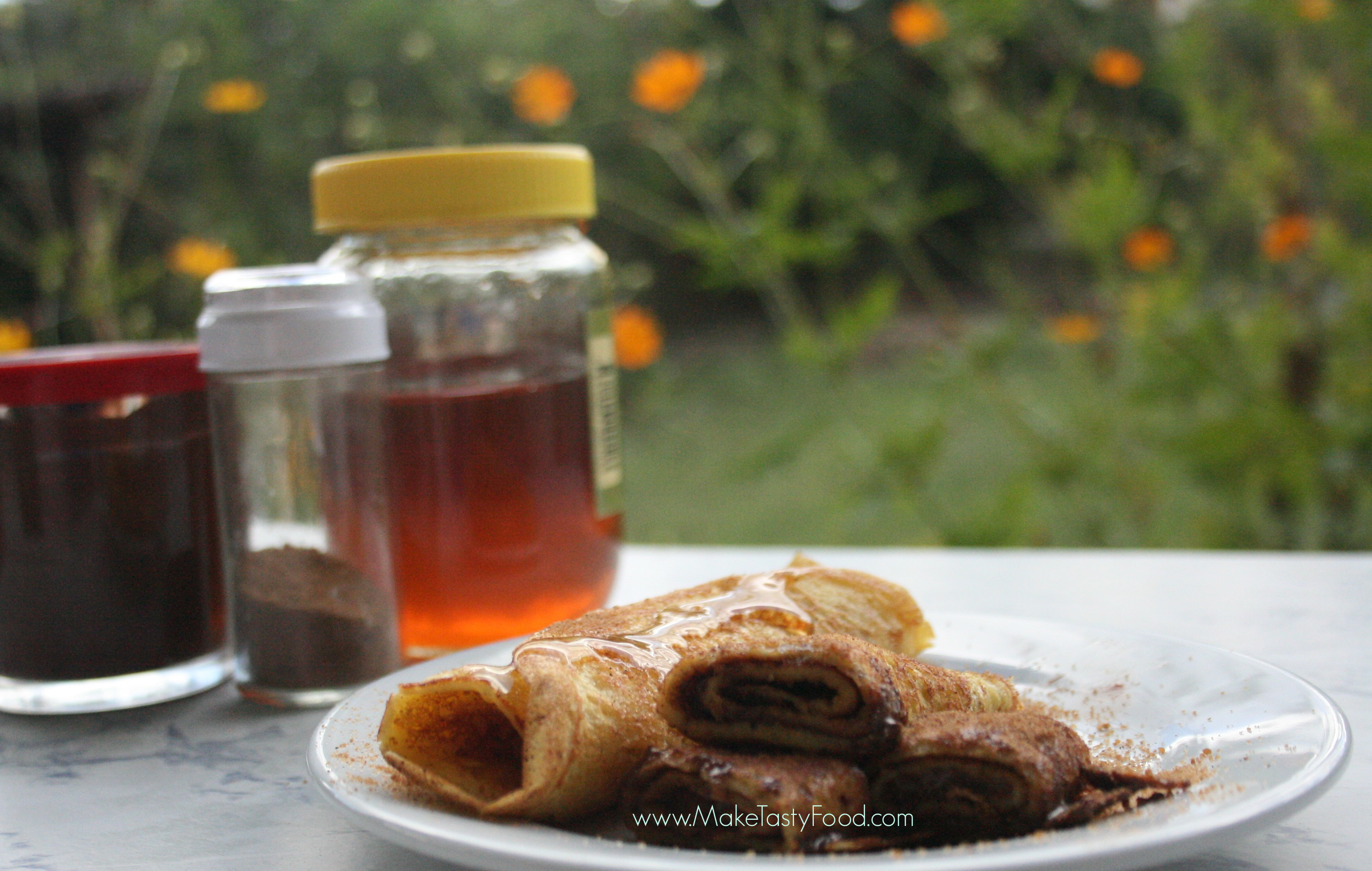 pancakes with different fillings and honey