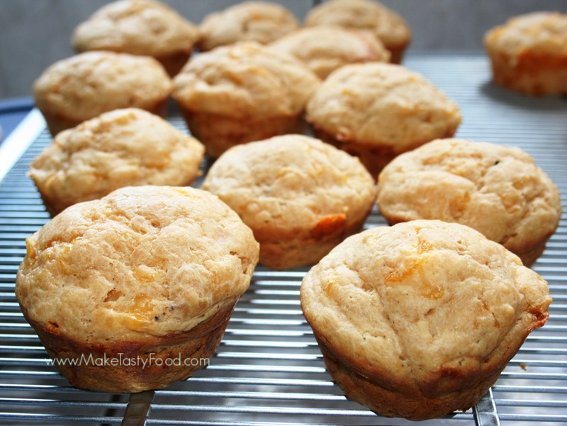 cheese scones cooling on a rack