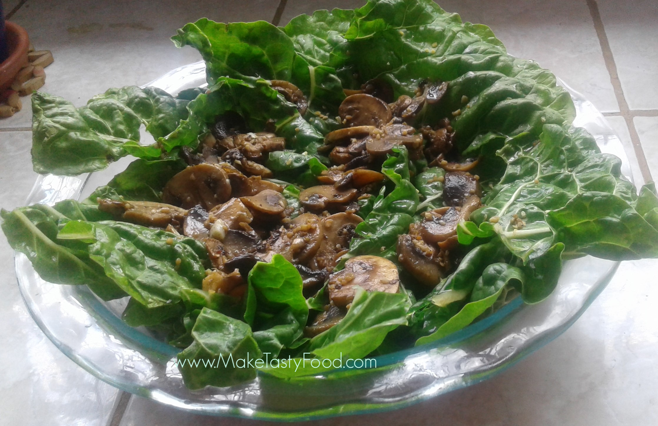 this base of spinach filled with mushrooms for feta quiche