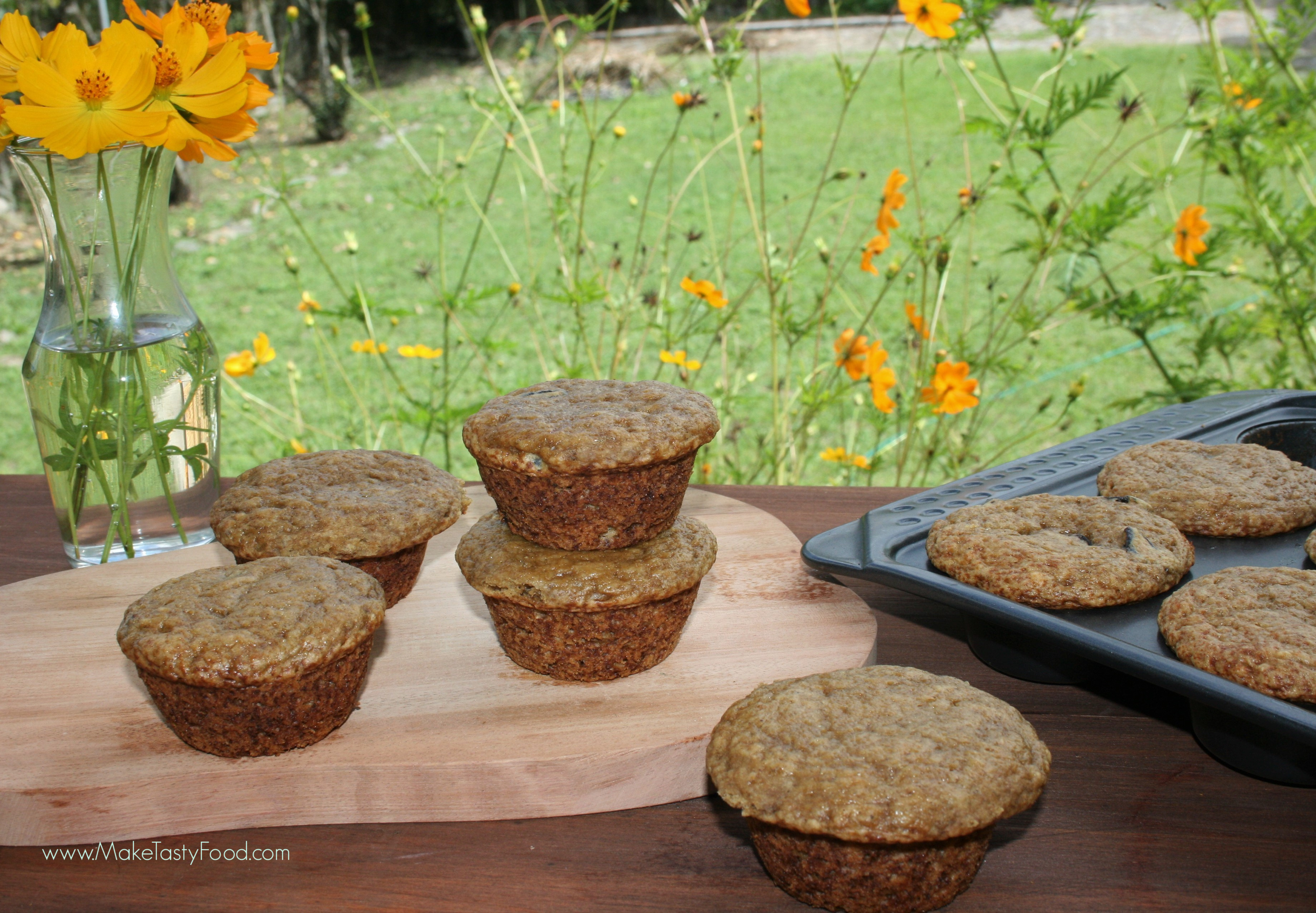 breakfast banana muffins just out of the oven