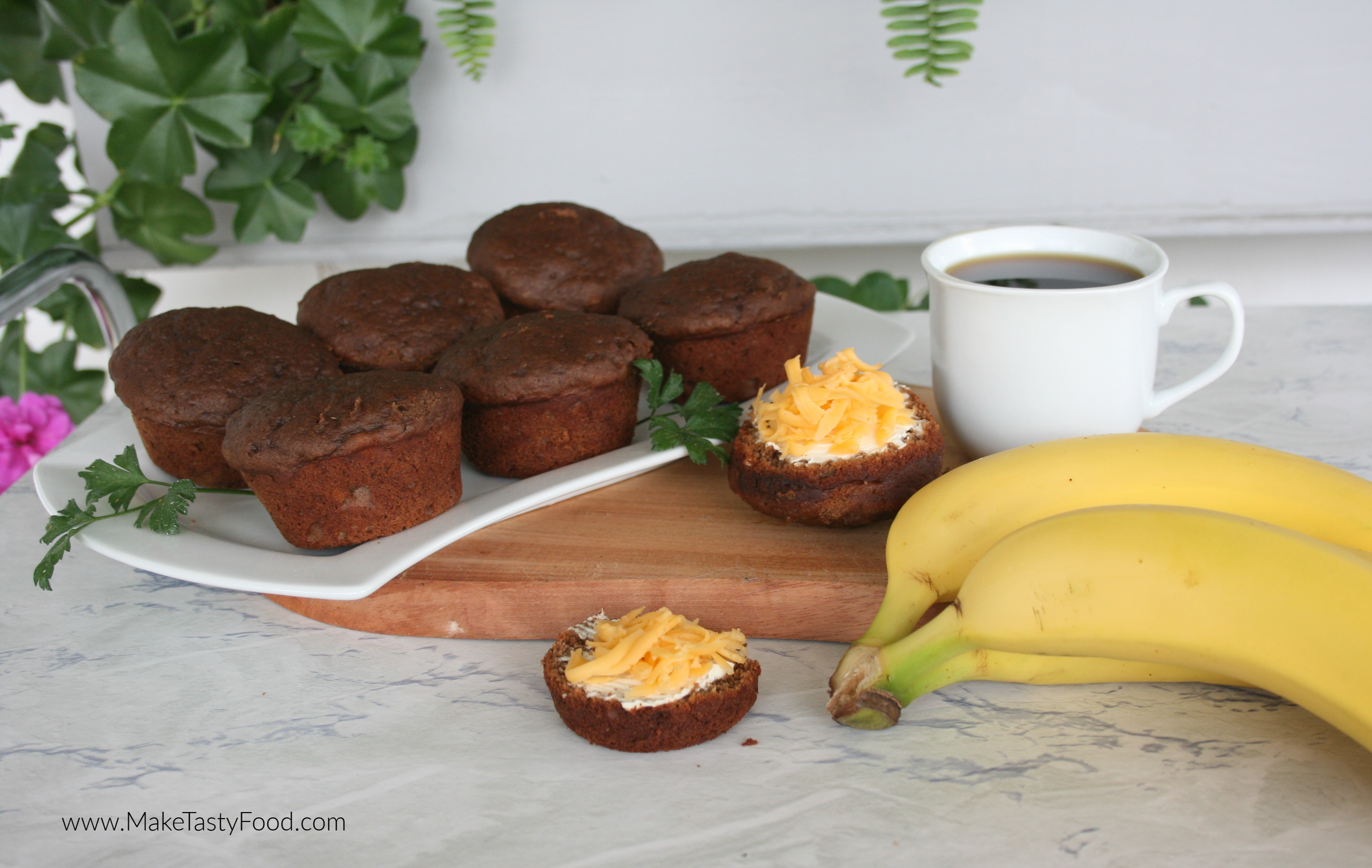 chocolate muffins cut in half and cheese added for a breakfast or tea time