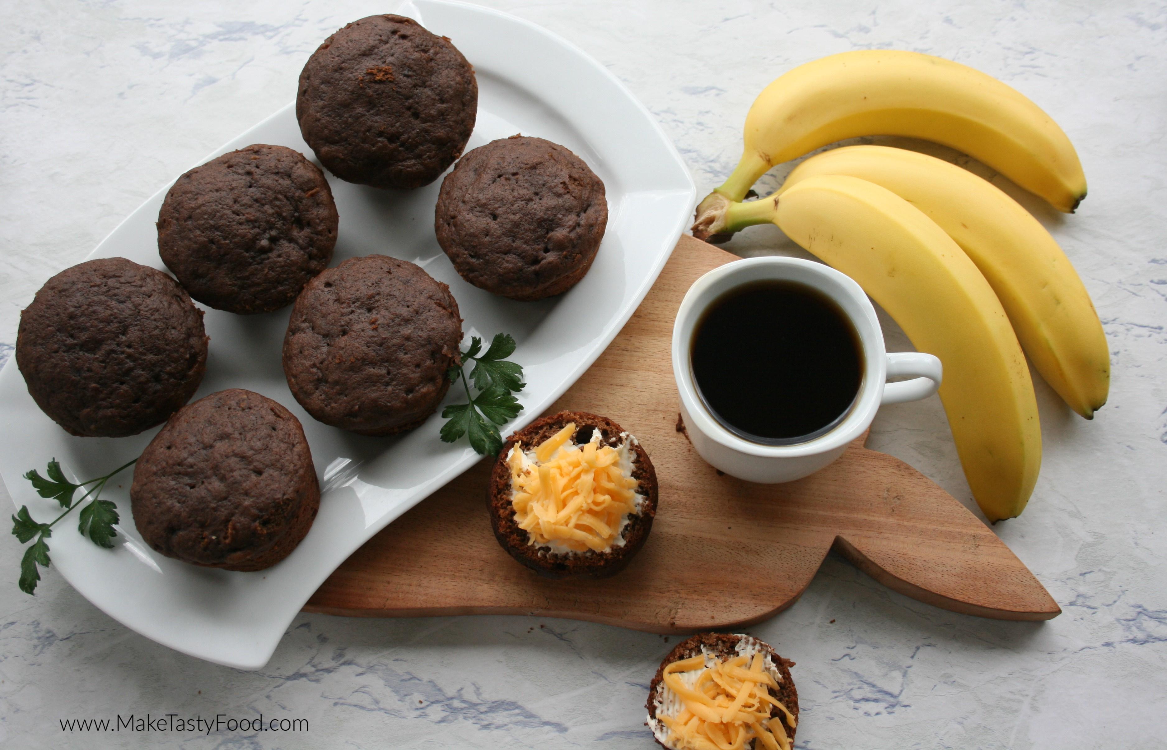 chocolate banana muffins served with coffee