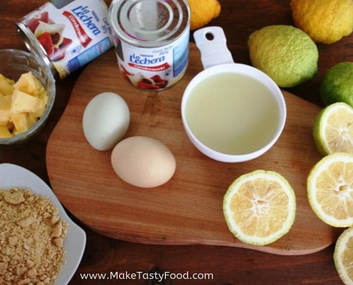 Ingredients for a lemon meringue tart