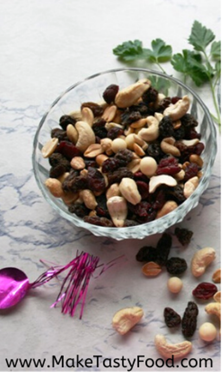 the savory peanuts and raisons and cranberry mix