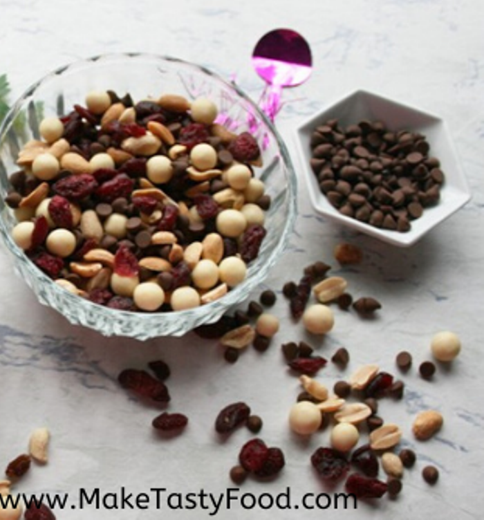 The sweeter snack mix with small chocolate chips