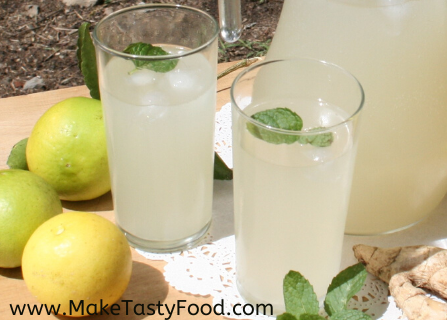 glasses of iced minted ginger beer