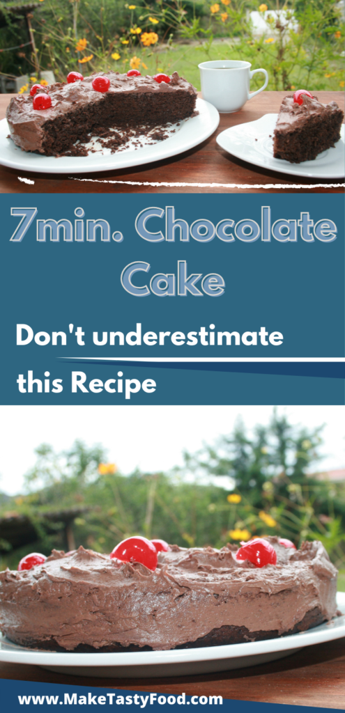 a Pinterest image of 7 minute chocolate cake plated