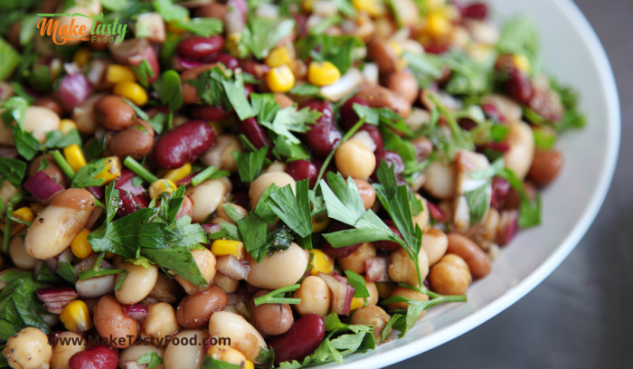 3 bean salad and sauce for a side dish for  braai
