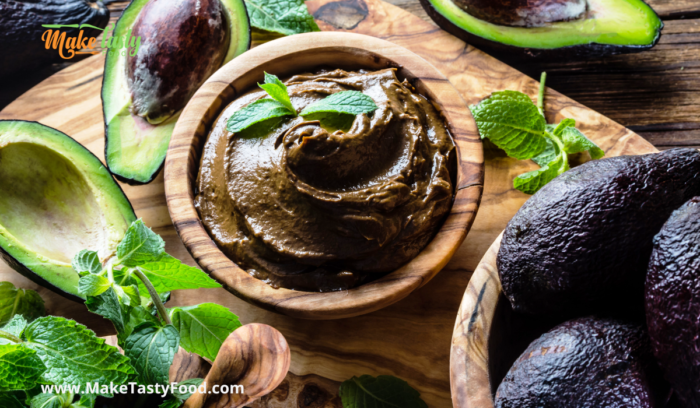 healthy avocado mousse in a wooden bowl
