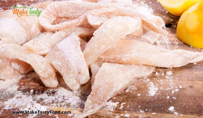 fresh fish fillets floured for fying