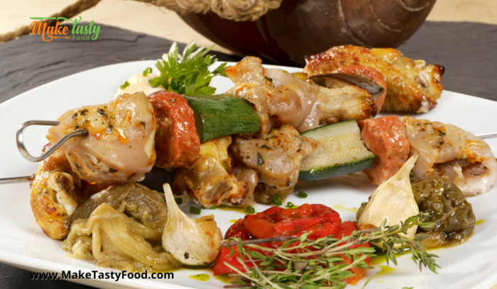some veggies or salads with the grilled chicken kebobs marinated with honey and mustard