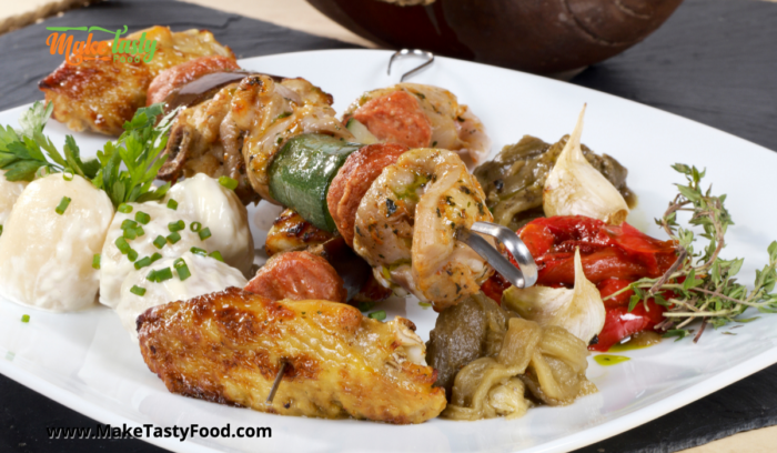 place on a serving dish the grilled honey mustard chicken kebobs