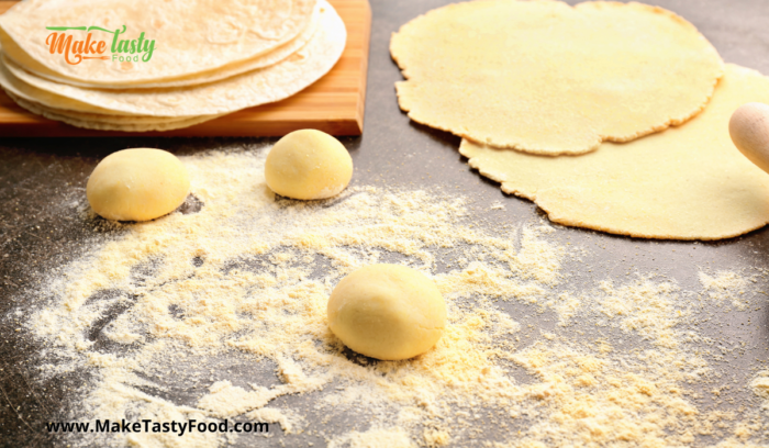 rolled balls of dough and flat tortillas for cooking