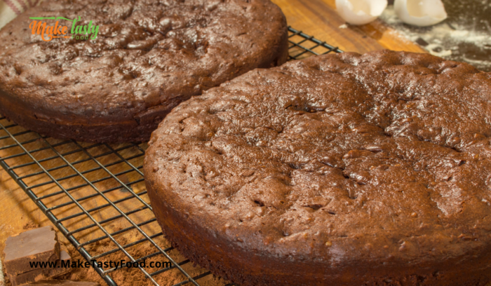 chocolate cake baked cooling