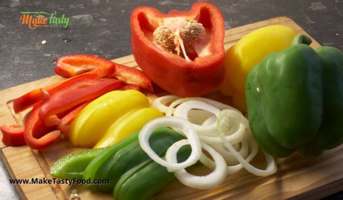green red and yellow peppers and onion for the sosaties