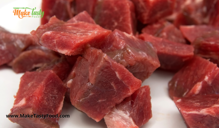 beef cut into squares for the sosatie skewers to be made. Or marinated