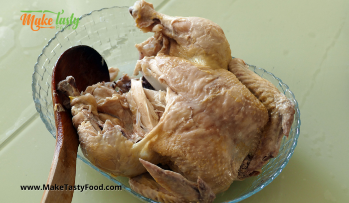 a boiled whole chicken to shred for recipe