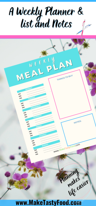 a Pinterest meal planner for weekly planners