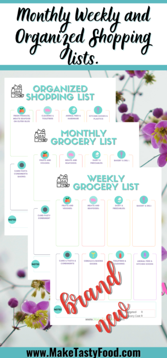 Pinterest monthly weekly and organized shopping list