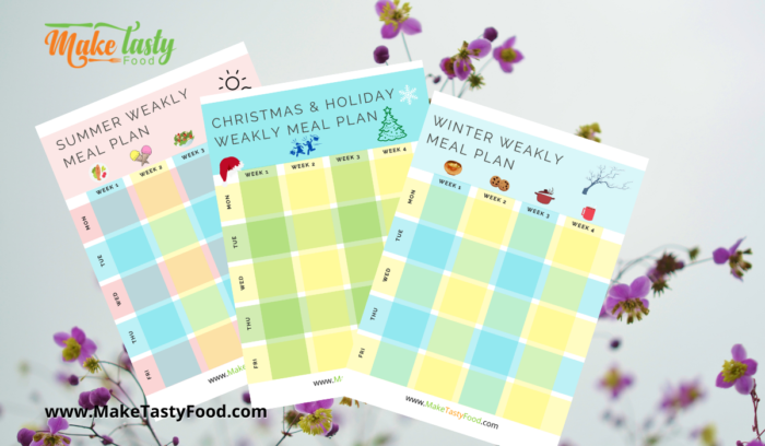 Seasonal and Holiday Weekly Meal Planner.
