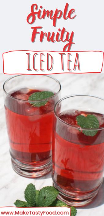 pinterest image of simple fruity iced tea