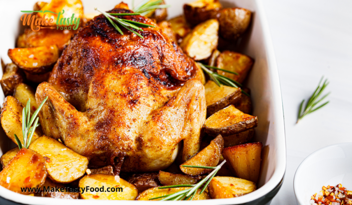herbed and spiced roasted chicken and potato's for family Sunday lunch