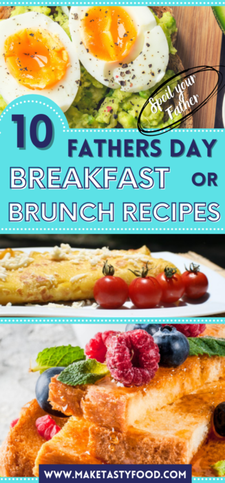 a Pinterest image for 10 Fathers Day Breakfast or Brunch recipes