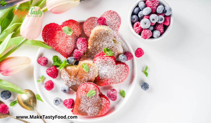 mini heart berry filled pancakes