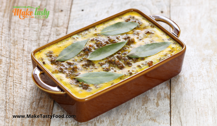 bay leaves placed on this bobotie casserole