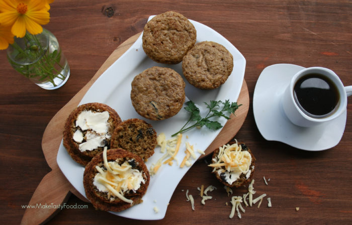 some special breakfast banana muffins with cheese and a cup of coffee