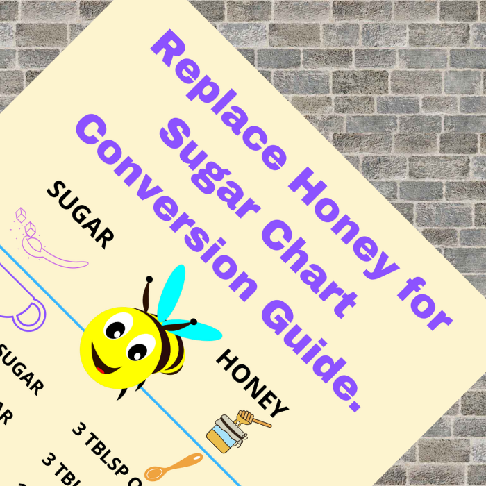 a free printable chart to replace sugar with honey for a healthier choice