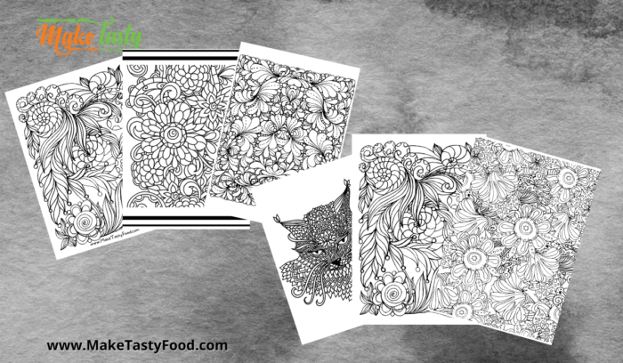 a set of 6 adult coloring pages for free