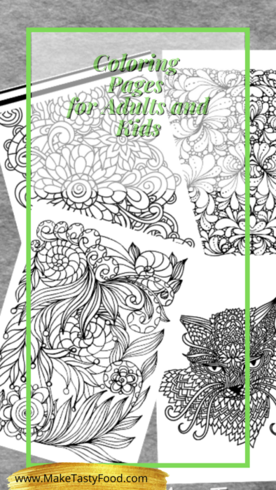 adult and kids coloring pages to relax and therapy