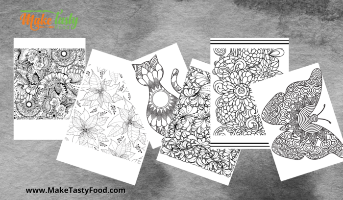 set 2 of 6 pages of adult coloring pages for therapy