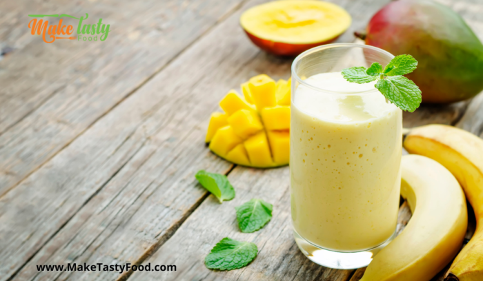 fresh fruit all in a smoothie with turmeric