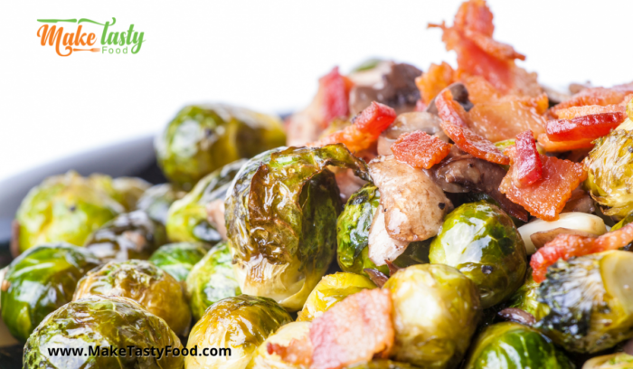 Brussel sprouts and bacon and onion roasted and ready to eat